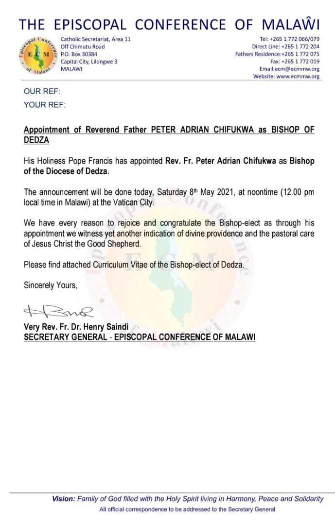 Pope Francis appoints Fr Peter Chifukwa as Bishop of Dedza