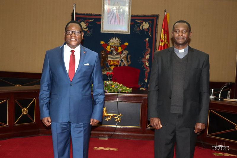 President Lazarus Chakwera with Fr Peter Chifukwa
